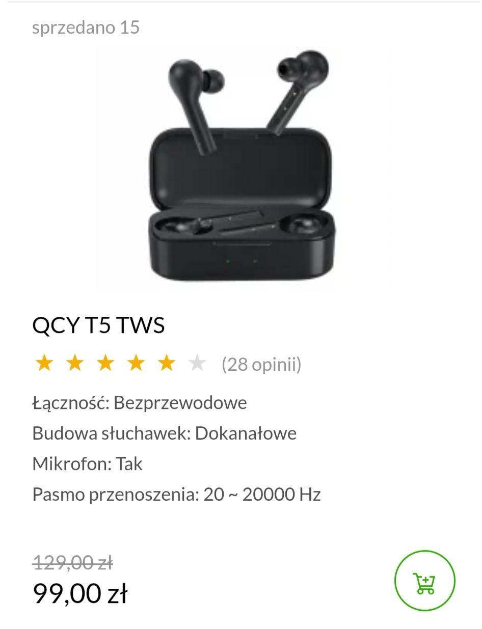 QCY TWS T5 za 99zł z x-kom, darmowa dostawa przy zakupie przez aplikację