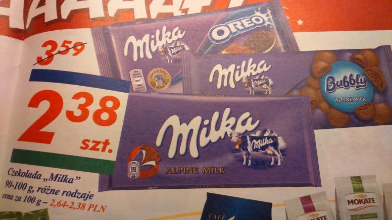 Czekoloda Milka 90-100 g różne rodzaje @Auchan