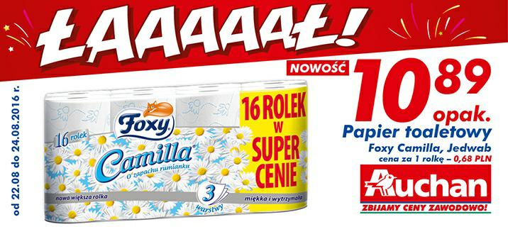 Papier toaletowy Foxy Camilia,Jedwab 1 opak/16 rolek @Auchan