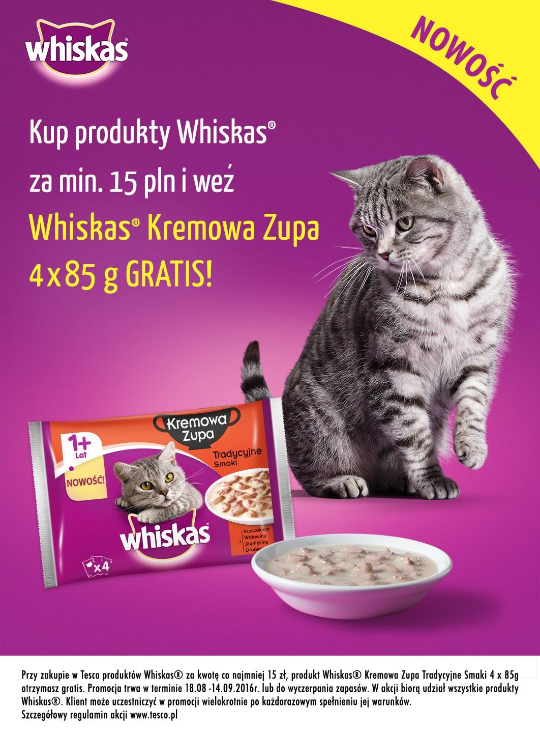 Kocie przysmaki GRATIS przy zakupie produktów Whiskas za min.15zł @ Tesco