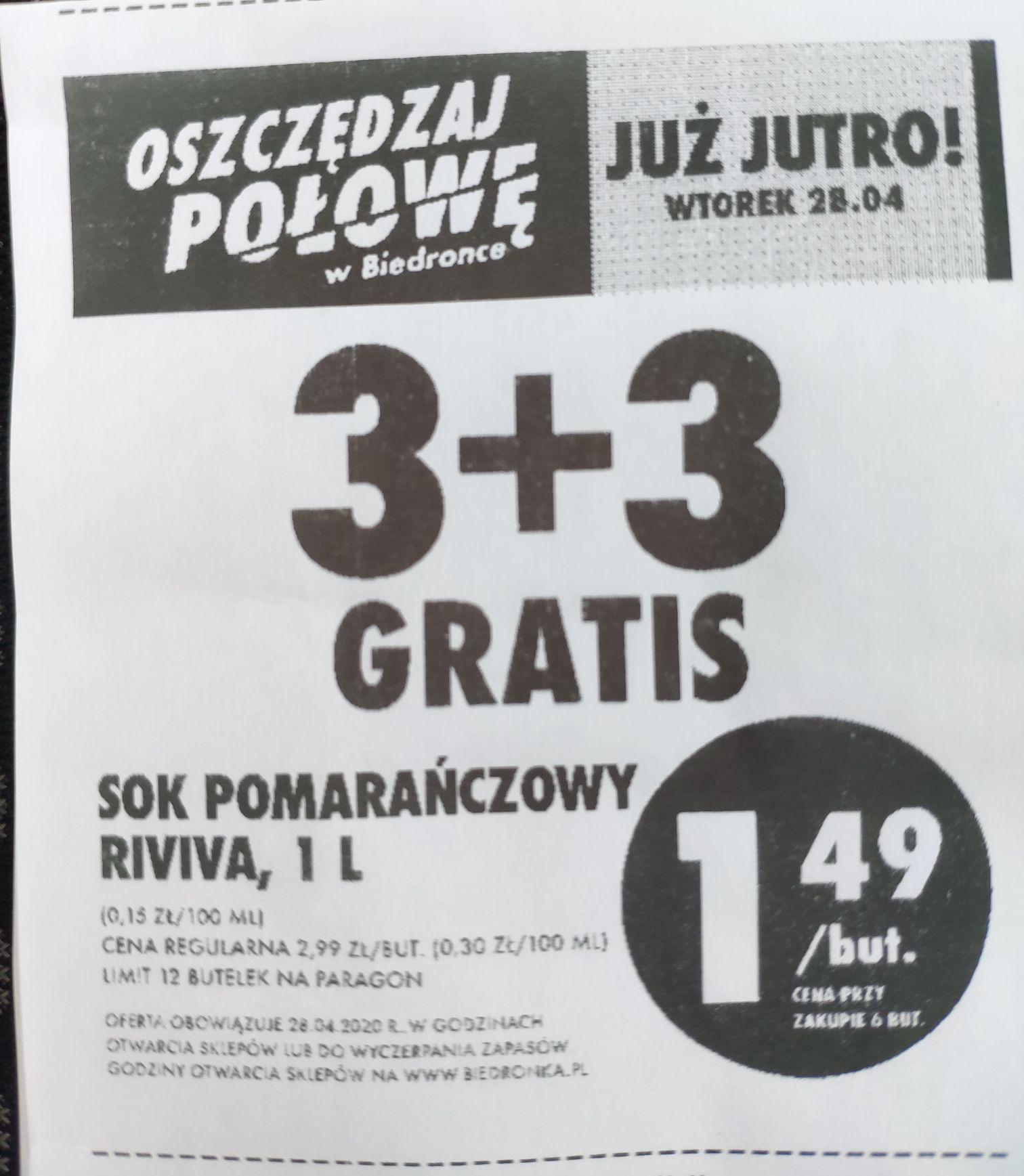 Biedronka - Sok pomarańczowy Riviva - 3 + 3 gratis