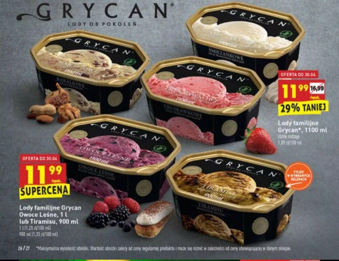 Lody Grycan 1100 ml i 900 ml w Biedronce