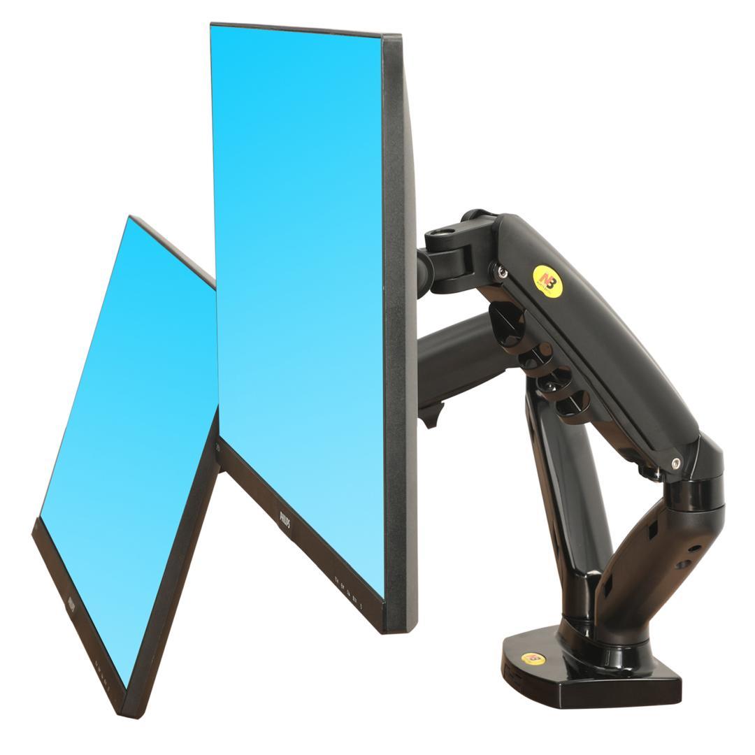 """F160 - Solidny, obrotowy uchwyt biurkowy na sprężynie gazowej do dwóch monitorów LCD, LED 17"""" - 27"""""""