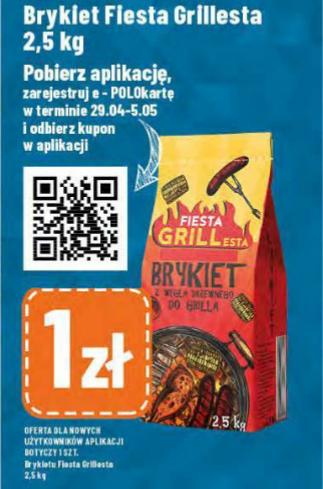 Brykiet z węgla drzewnego 2,5kg za 1zł po pobraniu aplikacji Polo Marketu i zarejestrowaniu e-POLO karty.