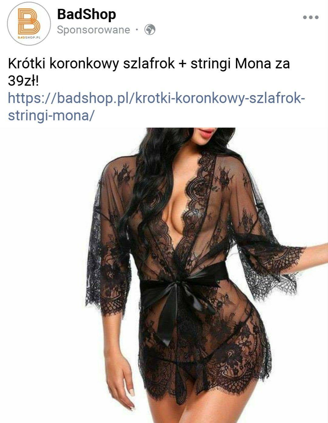 Badshop.pl -32% Krótki koronkowy szlafrok + stringi Mona + darmowa dostawa MWZ 100 zł