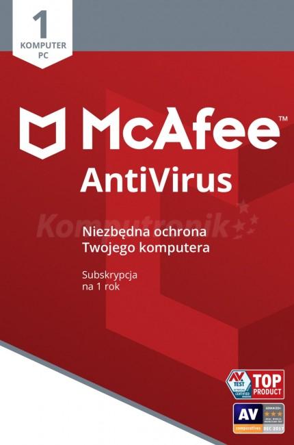 McAfee Anti-Virus Plus ESD PL 1 - device - licencja na rok za 9 zł na komputronik.pl