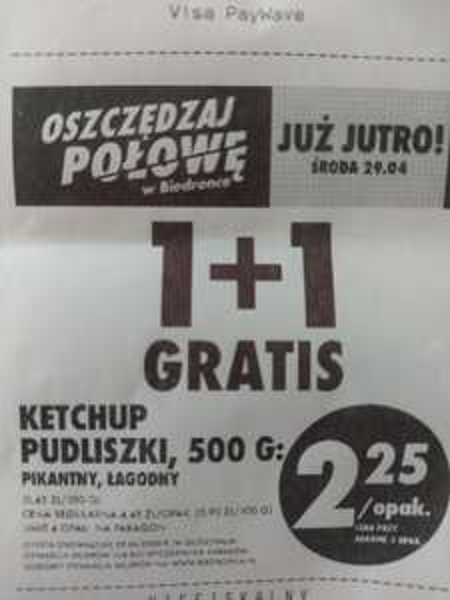 Biedronka ketchup pudliszki 1+1