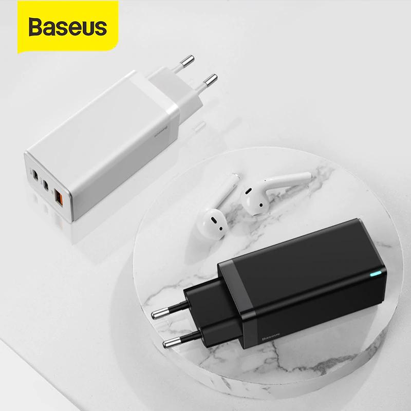 Ładowarka sieciowa BASEUS GaN 65W (TYP-C/USB QC4.0 ) ładowanie laptopa +2x komórka