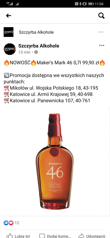 Whisky/Bourbon Makers Mark 46 0,7L przy zakupie z auchentoschan 18Yo dodatkowe 10% rabatu