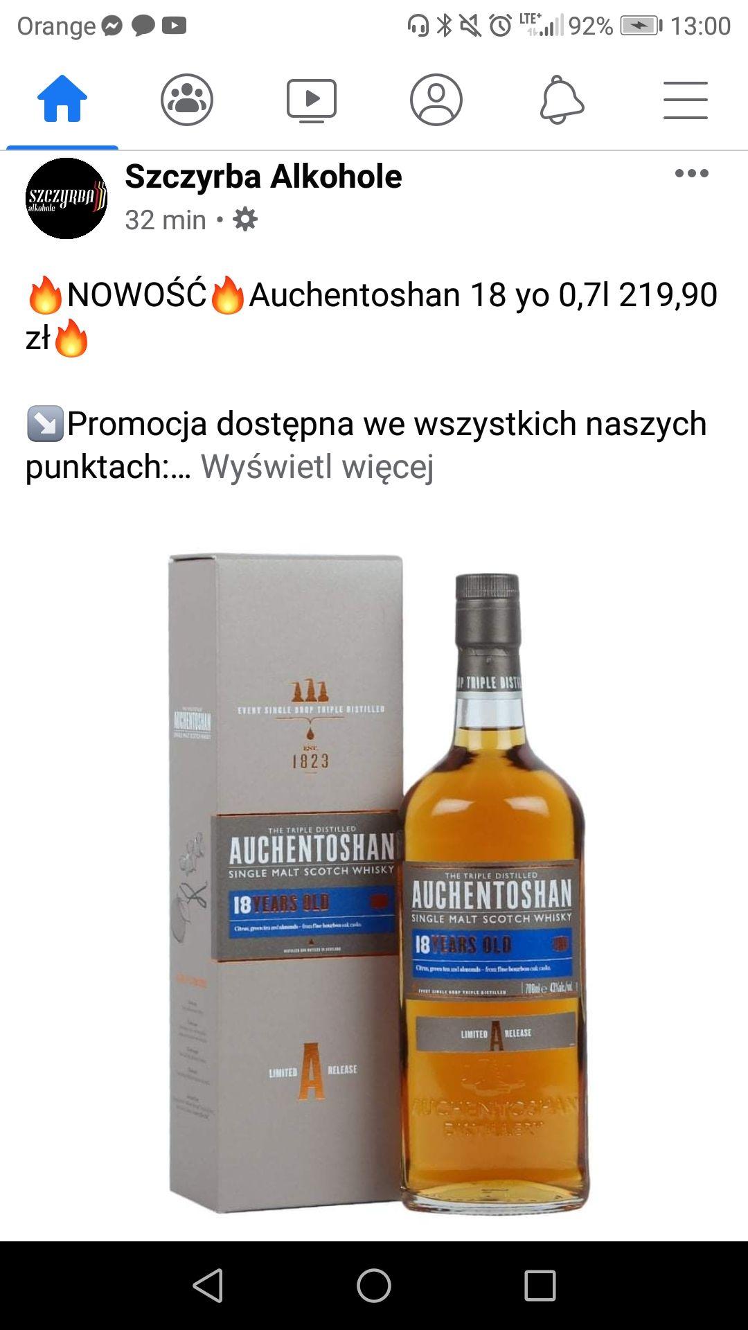 Auchentoshan 18yo / 0,7l / 219zł /Szczyrba Alkohole/ Śląsk
