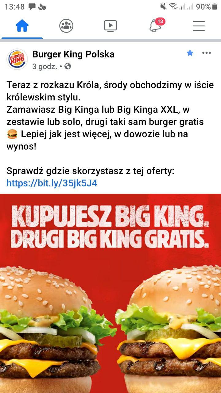 Burger King. Big King 1+1 gratis. Królewskie środy