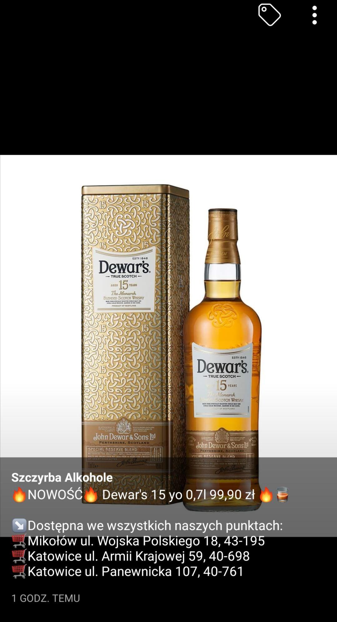 Whisky Dewar's 15YO w szczyrbaalkohole