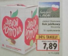 Sok jabłkowy tłoczony cena za litr 2.63 zł KAUFLAND