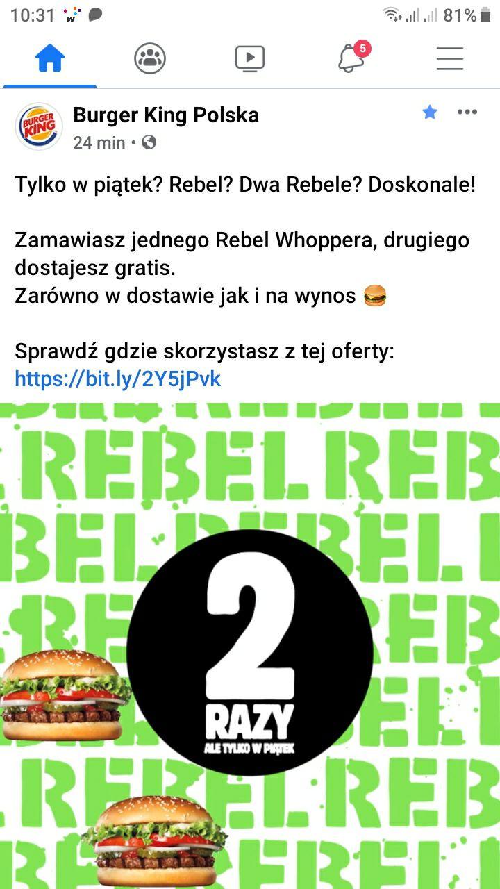 Burger King Rebel +1 gratis. Tylko w piątki
