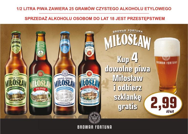 Szklanka gratis do 4 piw Miłosław