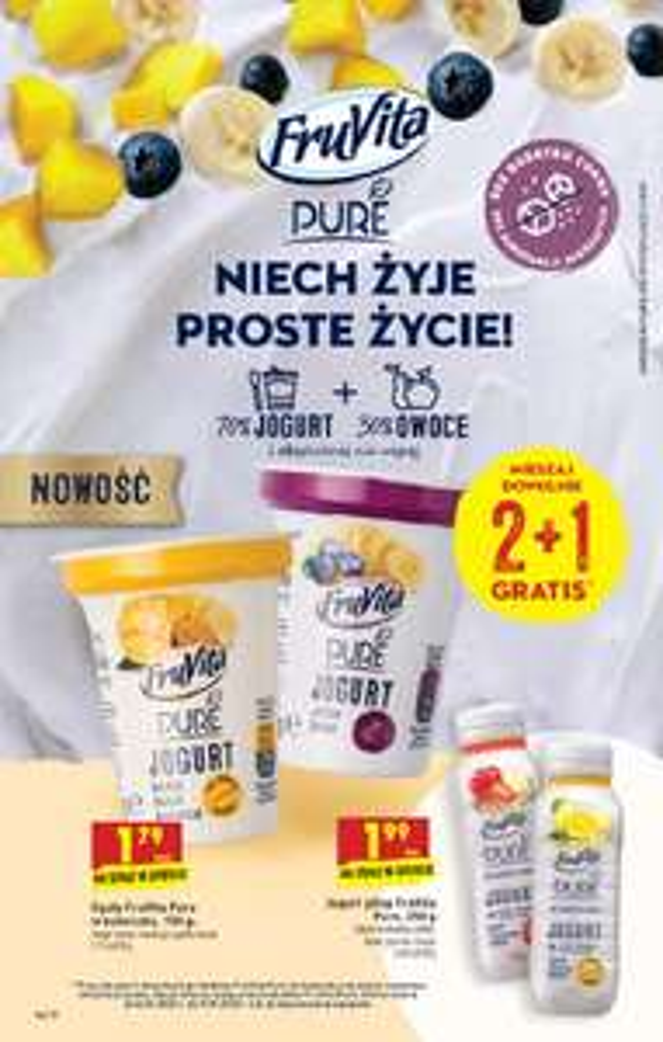 3 opak. PURE FruVita jogurt i owoce bez cukru biedronka