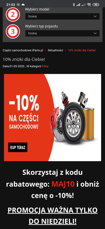 -10% na części do niedzieli na iparts.pl