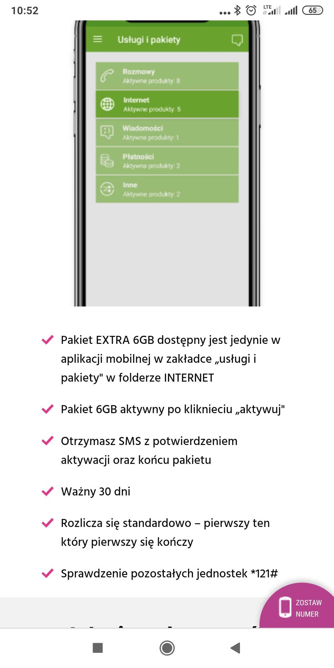 6GB internetu za darmo plush (możliwe że również plus) w aplikacji