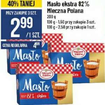 Masło Extra 82% Mleczna Polana 200g - Taniej przy zakupie 3 szt. POLOmarket