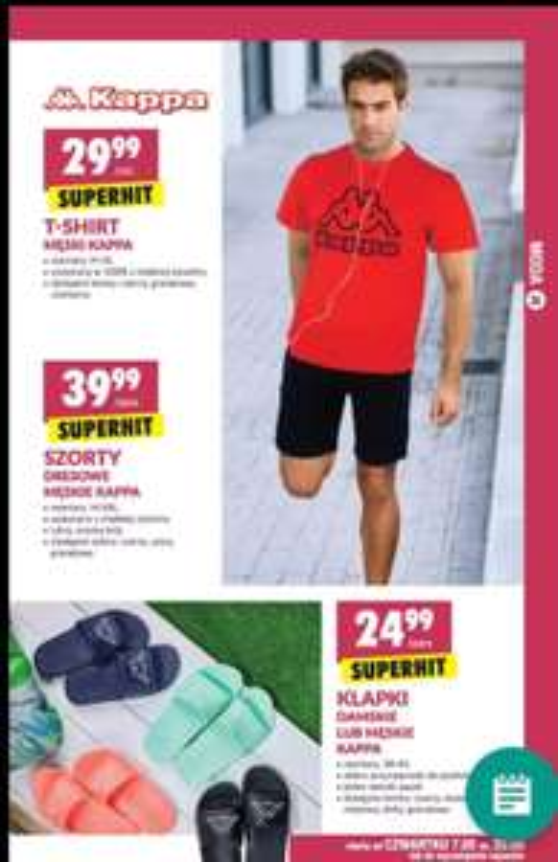 BIEDRONKA T-shirt męski Kappa, Szorty męskie, klapki damskie lub męskie od Czwartku 7.05