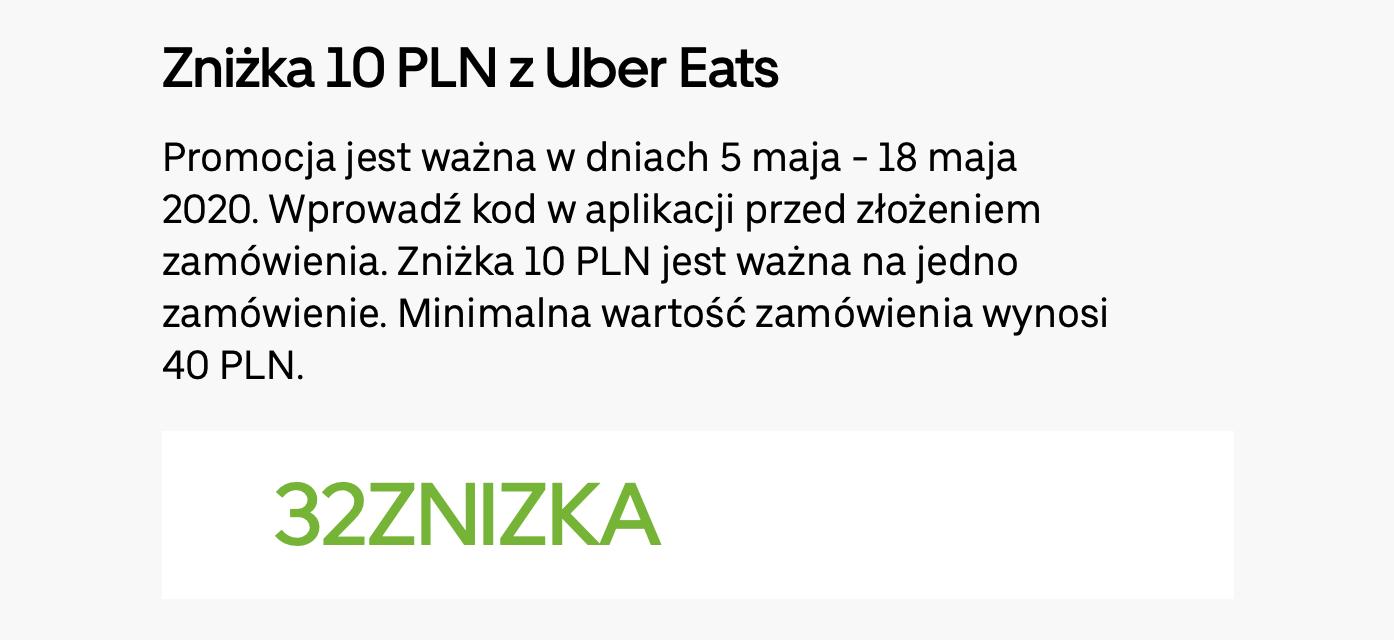 Uber Eats -10PLN mwz40 5-18.05