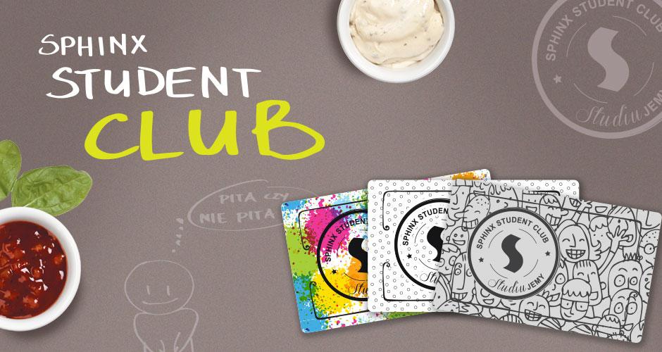 """Karta Rabatowa """"Sphinx Student Club"""" - specjalne (tańsze) menu dla studentów! @ Sphinx"""