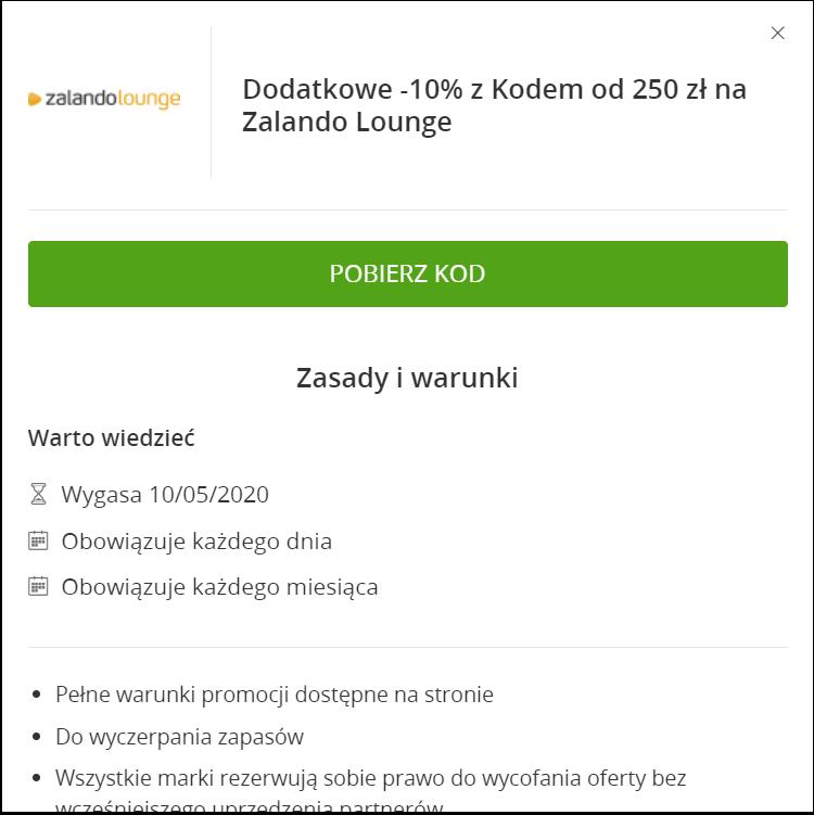 10% zniżki na Zalando Lounge MWZ 250zł
