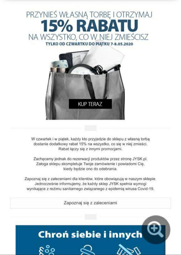 15% taniej w jysk za rzeczy zmieszczone do własnej torby