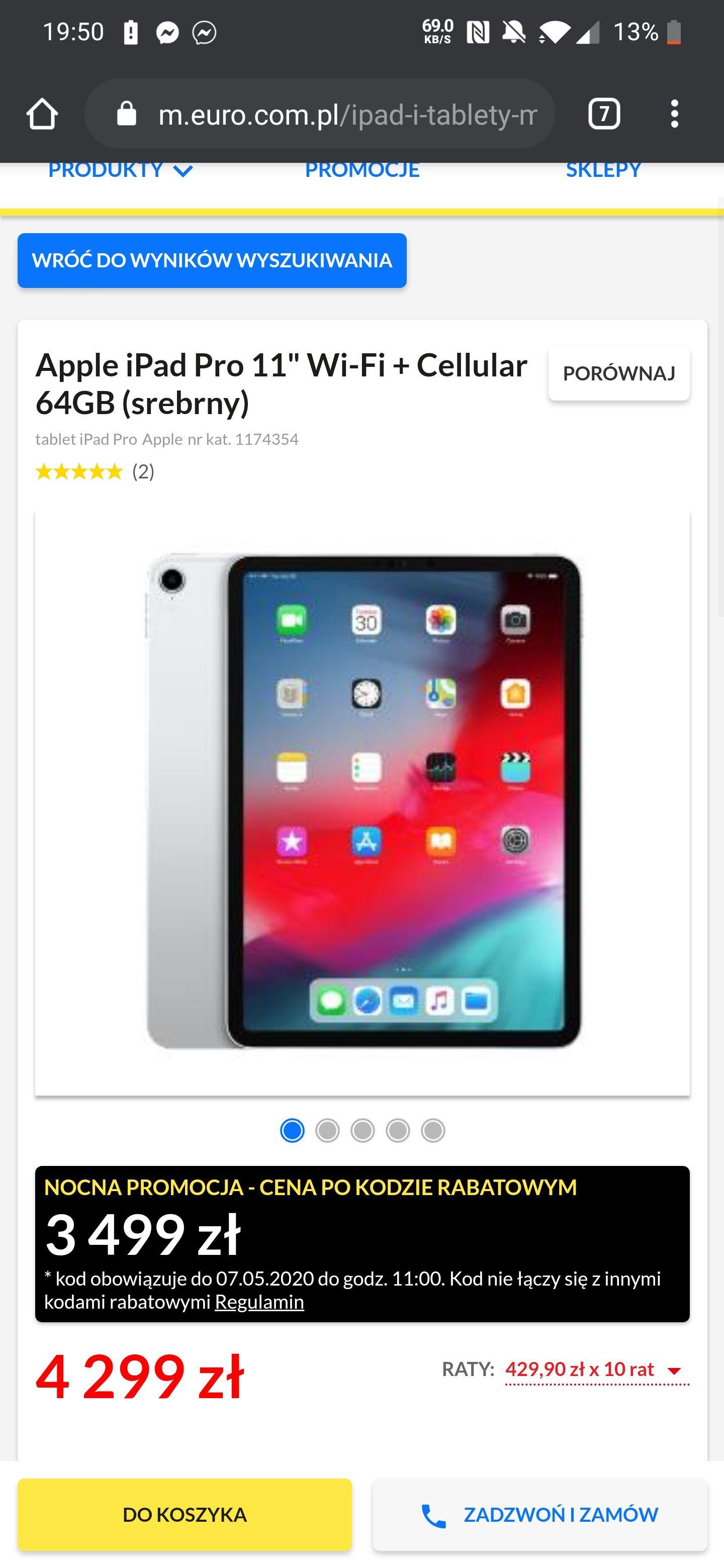 "Apple iPad Pro 11"" Wi-Fi + Cellular 64GB (srebrny) Nocna promocja w RTV"