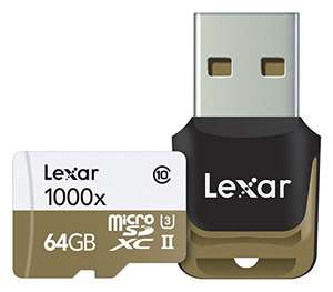 MicroSDXC Lexar Professional 64GB 1000x UHSII + adapter USB 3.0 za ok 85zł @ Amazon.co.uk