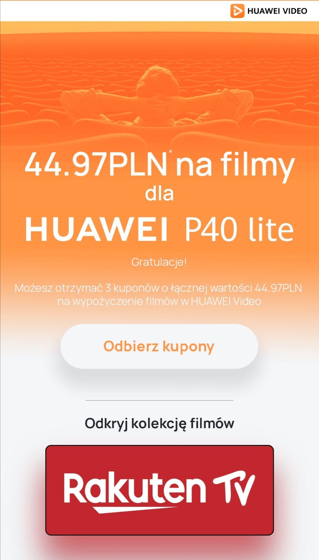 Huawei P40 - Kupony na 3 filmy z kolekcji Rakuten TV