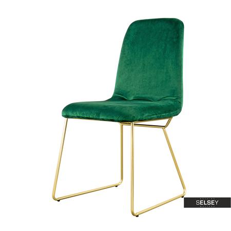 Krzesło Hironna zielone na złotych nogach ze stali