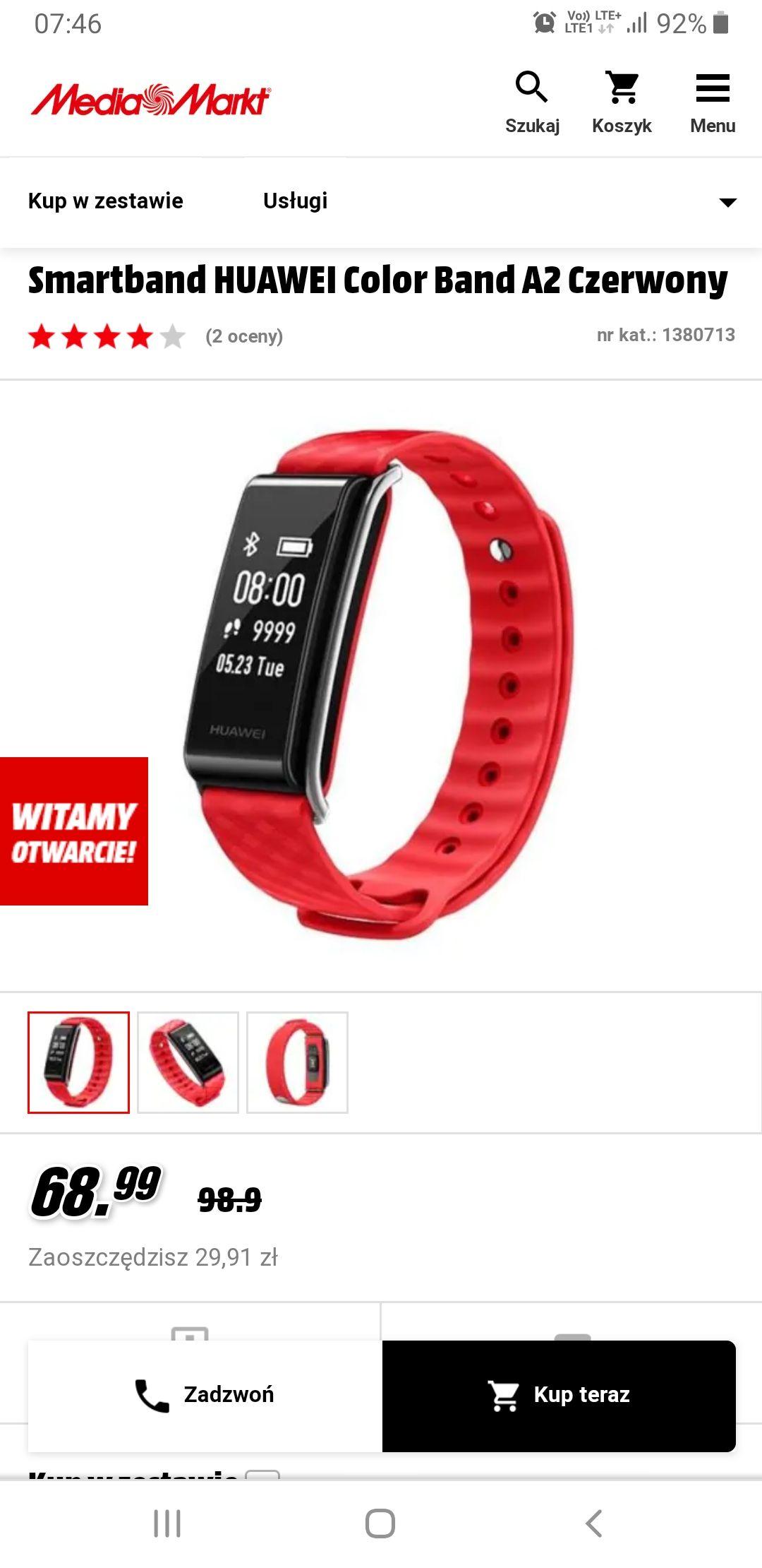 Smartband HUAWEI Color Band A2 Czerwony