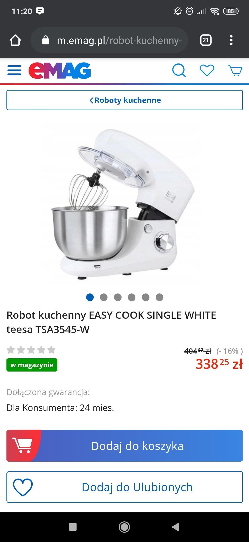 Robot kuchenny EASY COOK SINGLE WHITE teesa TSA3545-W, moc1400W