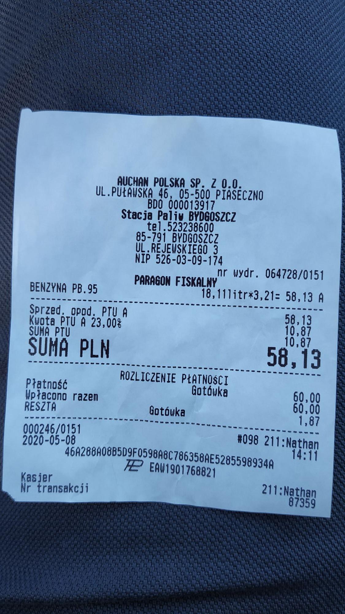 Tania benzyna 95 - 3,21 zł. Auchan Bydgoszcz ul. Rejewskiego 3