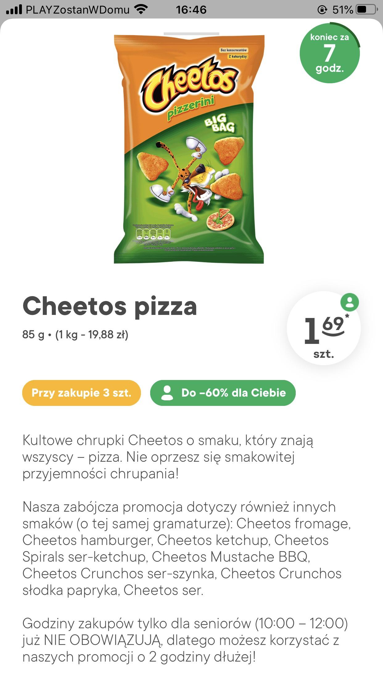 Cheetos pizza za 1.69 przy zakupie 3szt. żabka