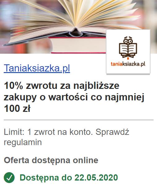 10% zwrotu z TANIAKSIAZKA.PL na karte Visa