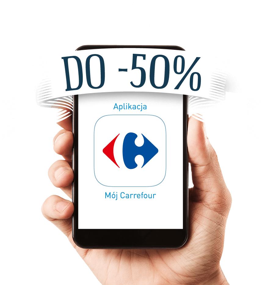 Do 50% rabatu na wybrane produkty z aplikacją mobilną Carrefour (4-pak piwa Lech 50% taniej, kawy 30% taniej, majonez Hellman's 50% taniej i inne)