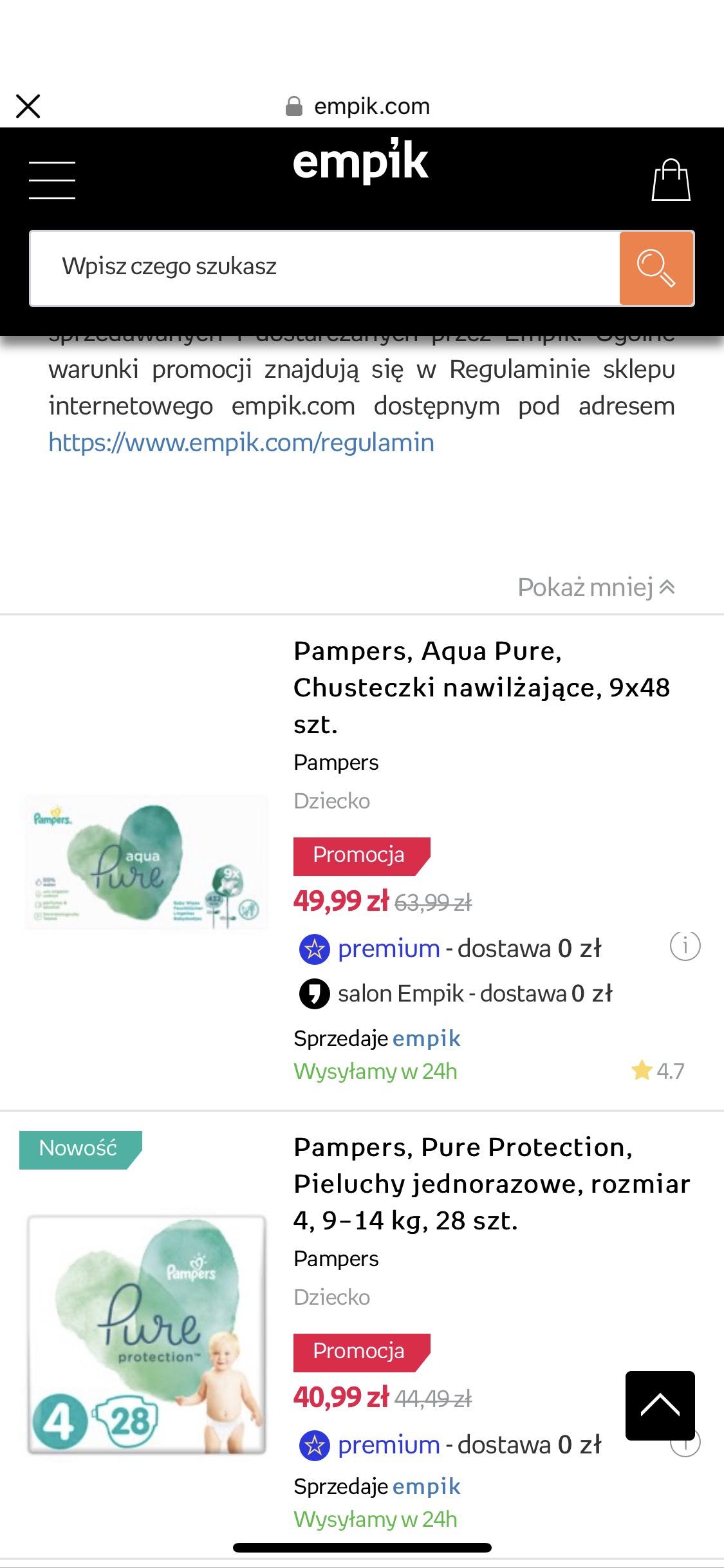 Chusteczki nawilżane Pampers Aqua Pure 9x48 (darmowa dostawa do salonu Empik)