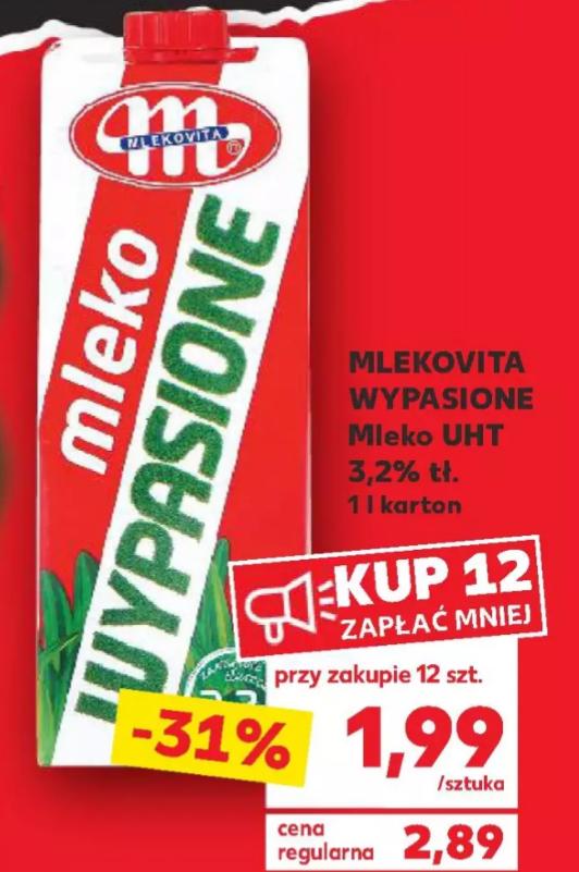 Mleko UHT 3,2% Mlekovita Wypasione. Przy zakupie 12 szt. Kaufland
