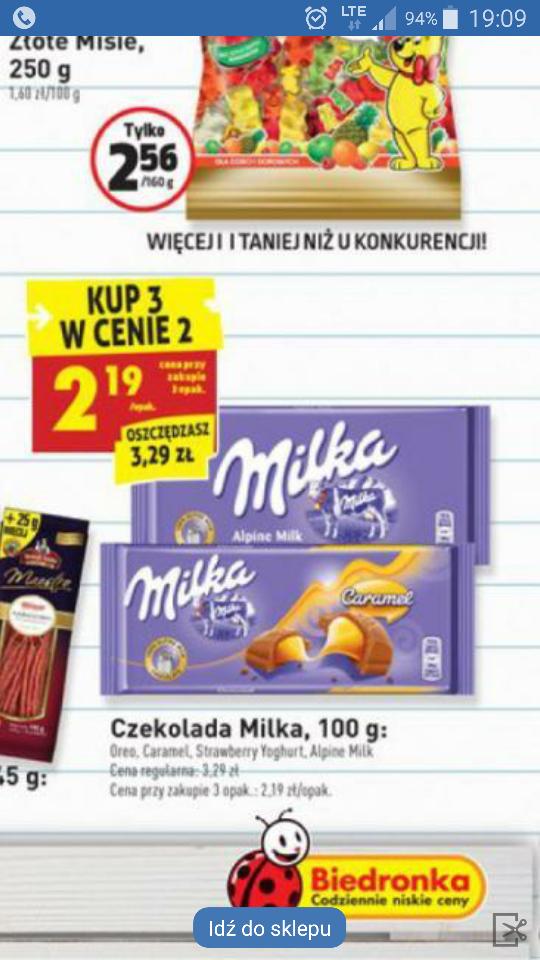 Milka 100g 2,19 zl/szt. Przy zakupie 3.