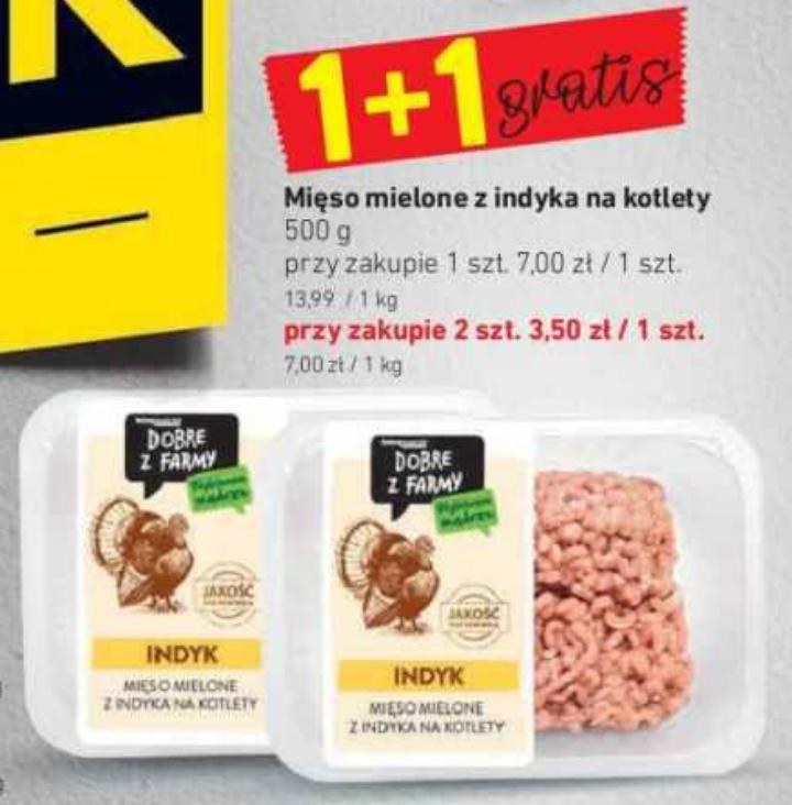 Mięso mielone z indyka na kotlety 500g. 1+1 gratis. Intermarche