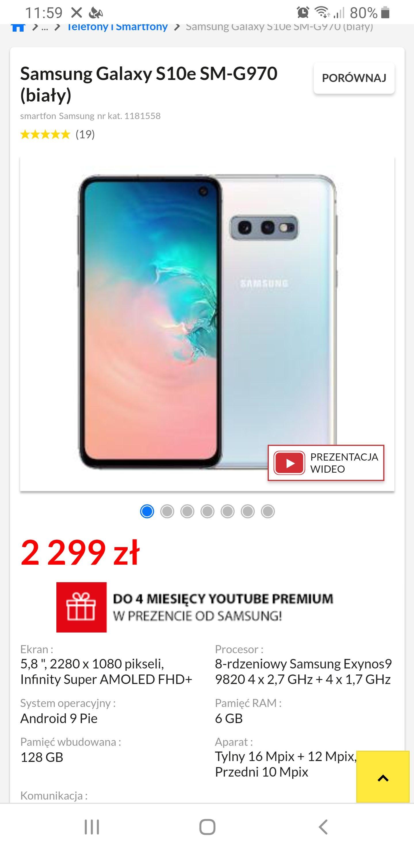 Samsung Galaxy S10e SM-G970 (wybrane sklepy)
