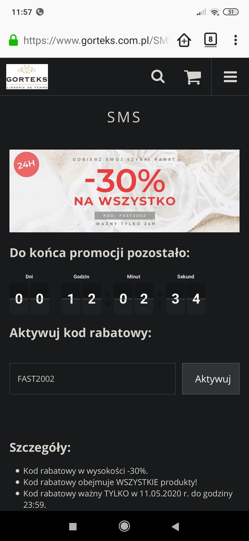 Gorteks bielizna damska - rabat 30% na wszystko