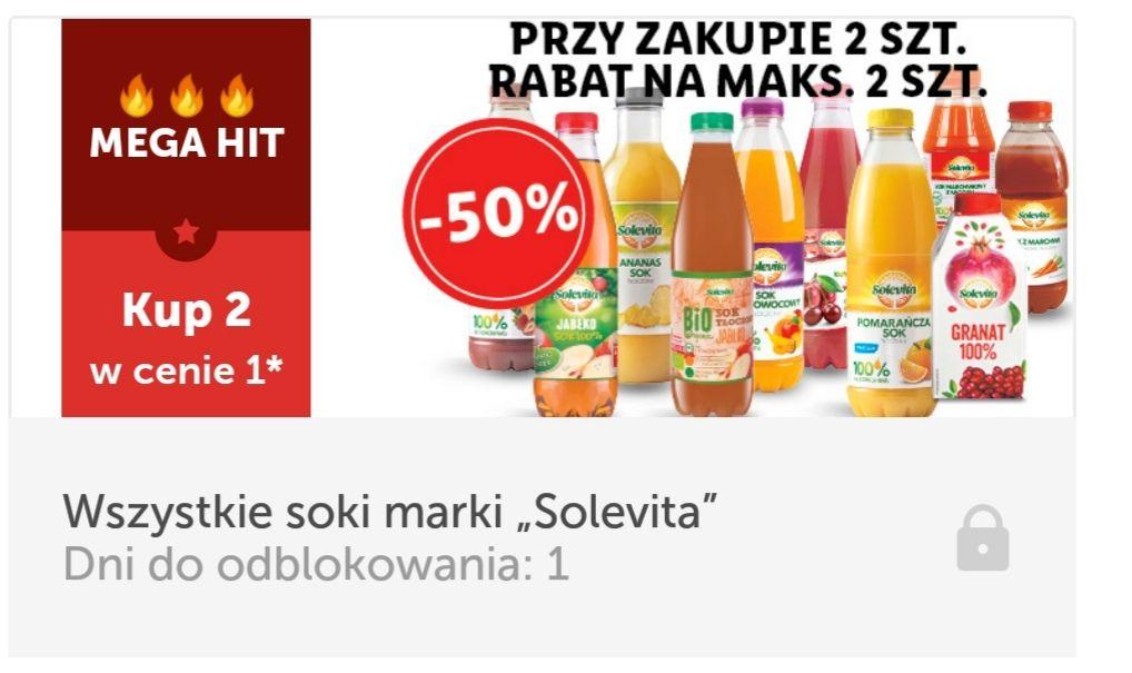 Wszystkie soki Solevita - 50% z kuponem w aplikacji Lidl