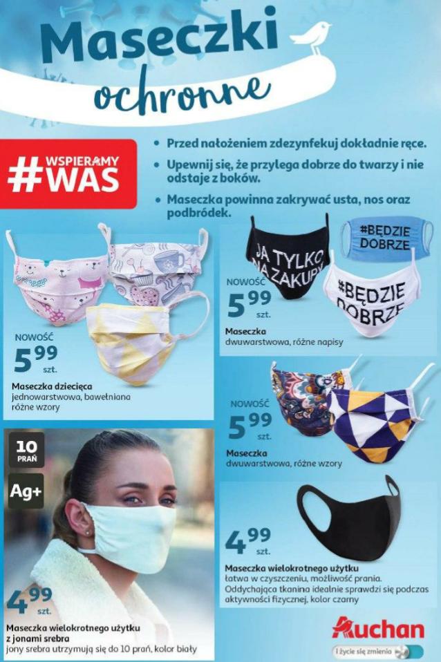 Maseczki ochronne, od 2,99 do 5,99zł, duży wybór wzorów i rodzajów Auchan