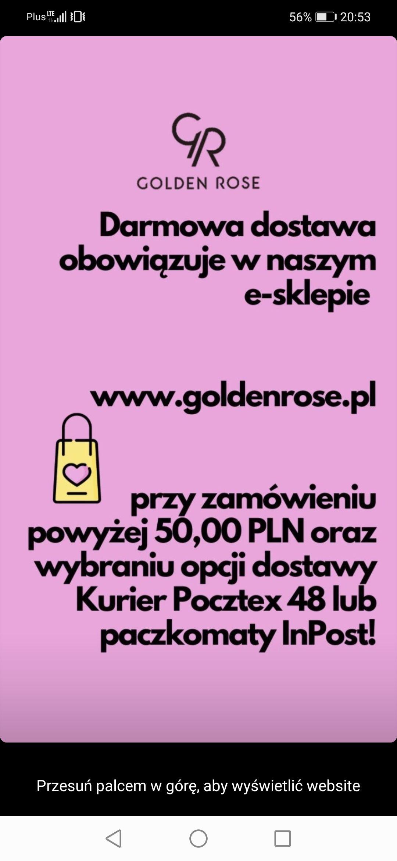Darmowa Dostawa w Internetowym sklepie Golden Rose MKZ 50 zł