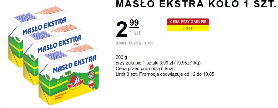 Intermarche ; Masło ekstra KOŁO - 2,99 przy zakupie 3 szt.