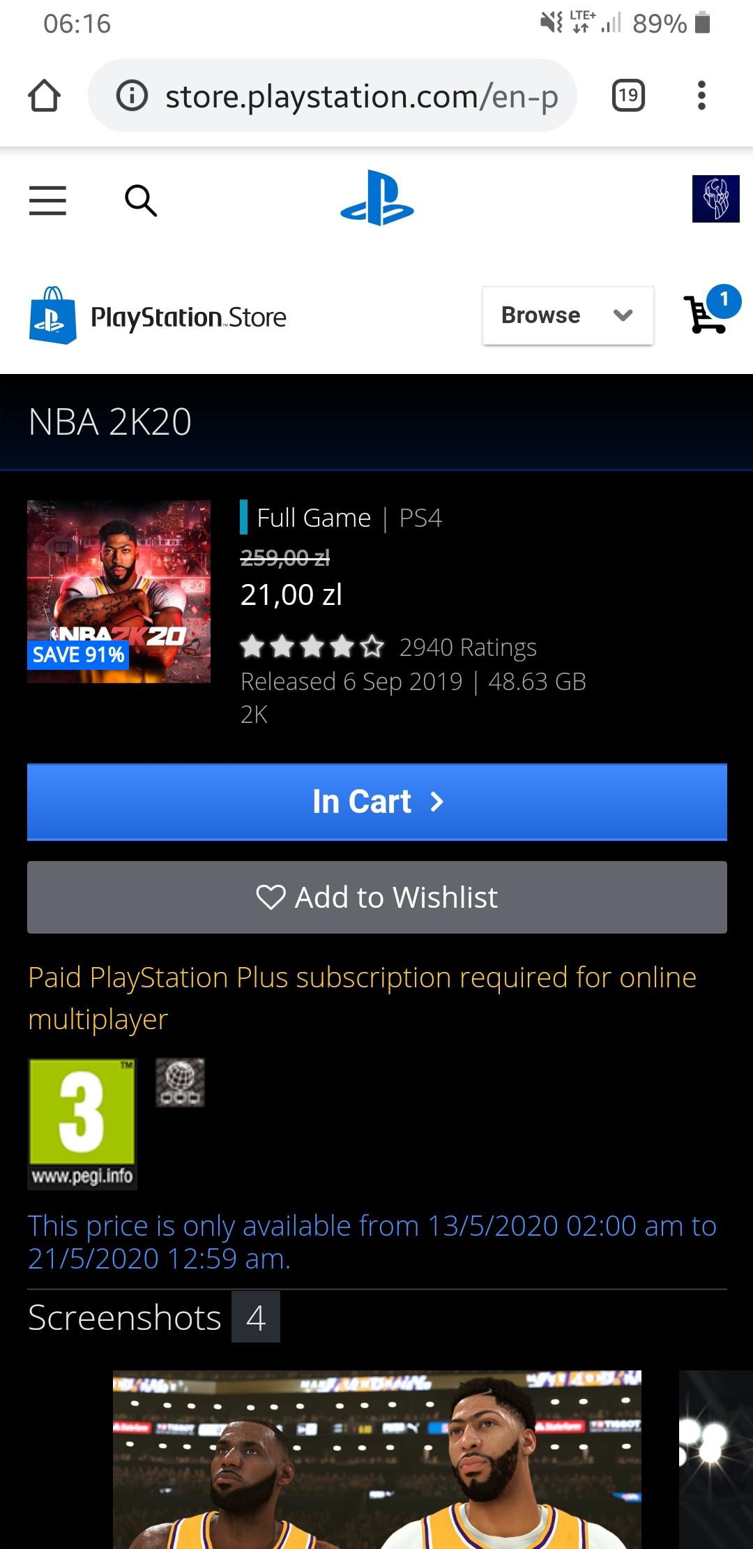 NBA 2K20 PS4 DIGITAL (PS STORE)