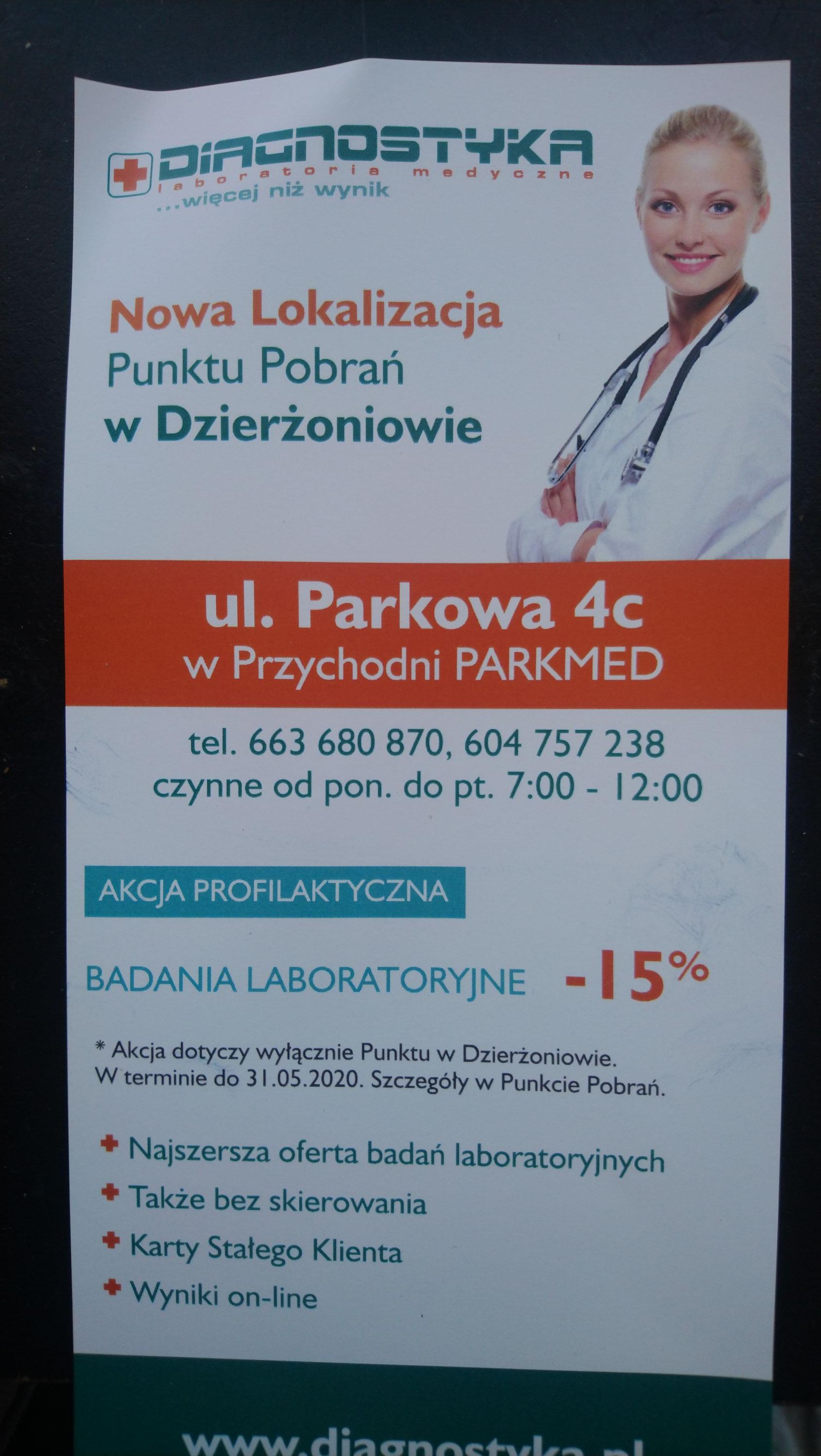 15% rabatu na badania w nowym punkcie Diagnostyka w Dzierżoniowie
